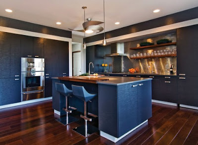 Blue kitchen cabinet design