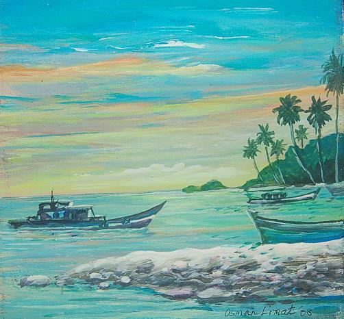 Lukisan catan pemandangan laut