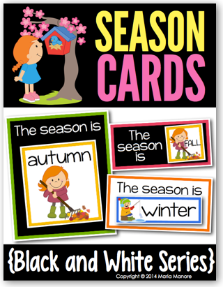 Season Cards for a classroom calendar