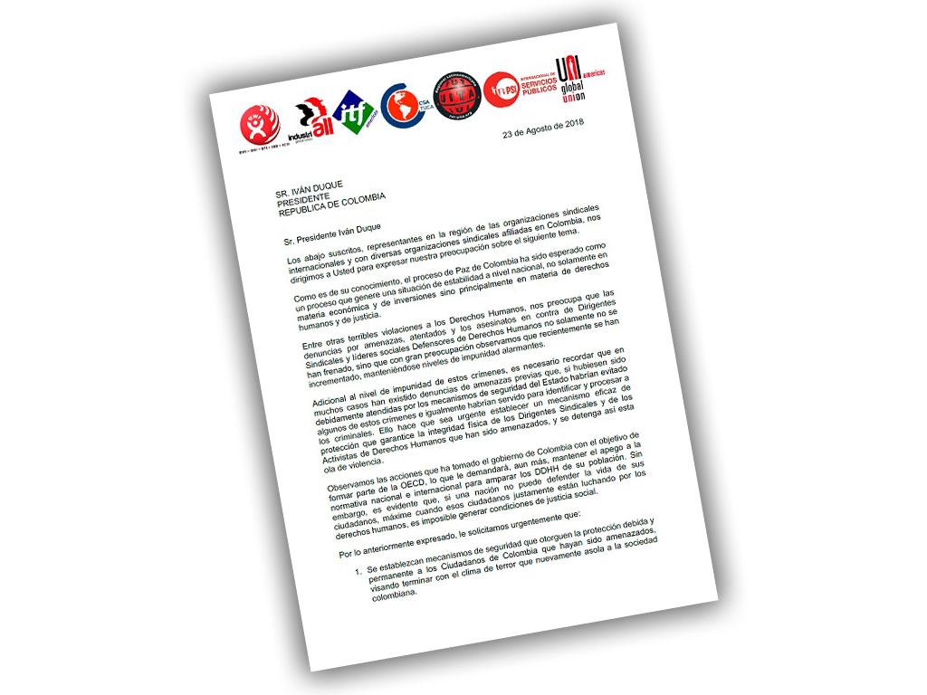 Carta al Presidente de la República Sr Iván Duque