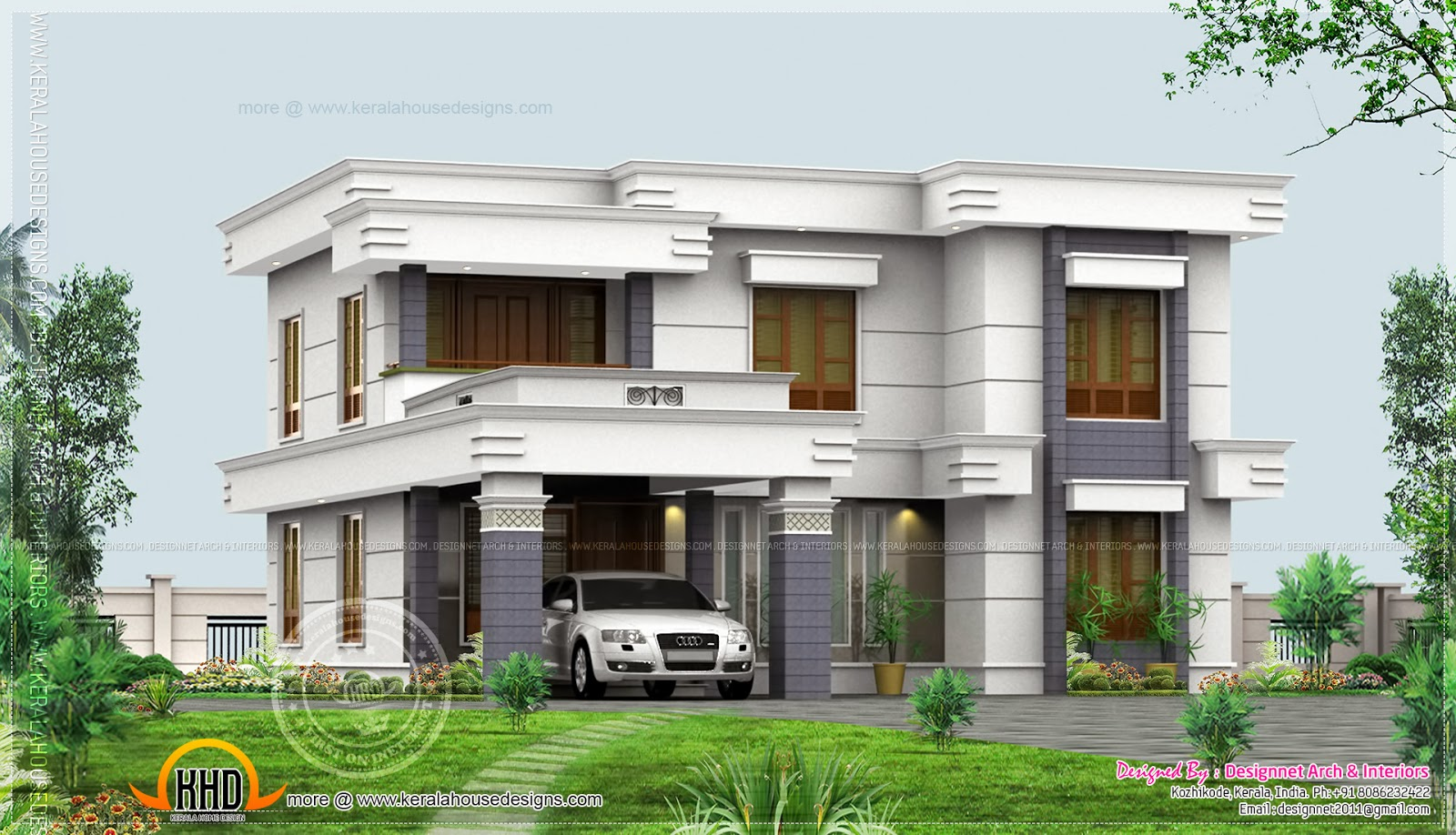 4 bedroom flat roof design in 2500 indian house plans House plan flat roof design