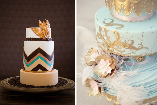 feathers wedding, roaring 20s wedding, feather wedding cake