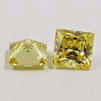 princess cut golden yellow cz