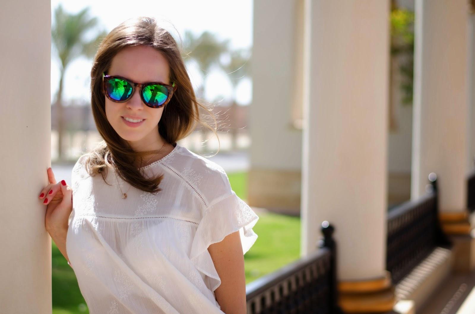 kristjaana mere sahl hasheesh zara white top lindex mirror sunglasses summer trend