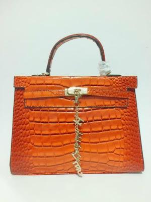 tas wanita terbaru, impor, import, tas branded Kelly Croco, Tas Kelly Croco warna Orange, image