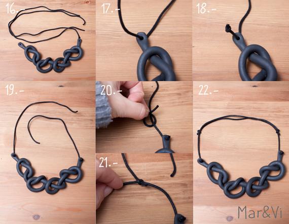 como hacer un collar de nudos con arcilla polimérica