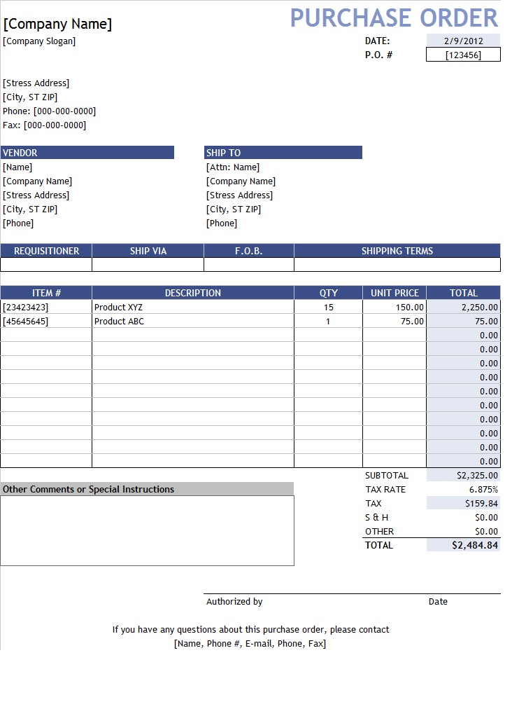 purchase order with price list free excel templates pinterest