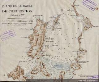 Plano de la Bahía de Concepción en 1790