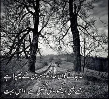 Udaas SMS Shayari In Urdu 2014