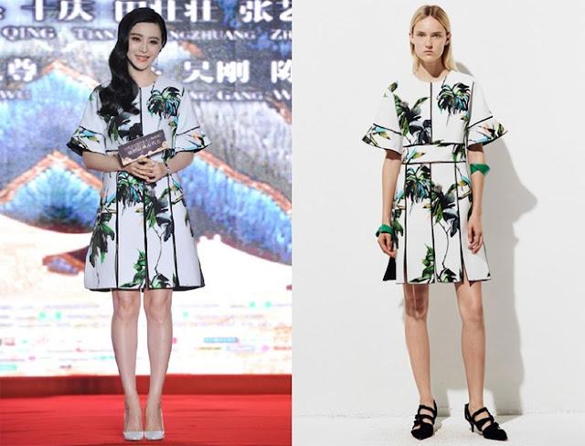 Băng Băng diện váy trong bộ sưu tập trước Xuân 2016 của Proenza Schouler.