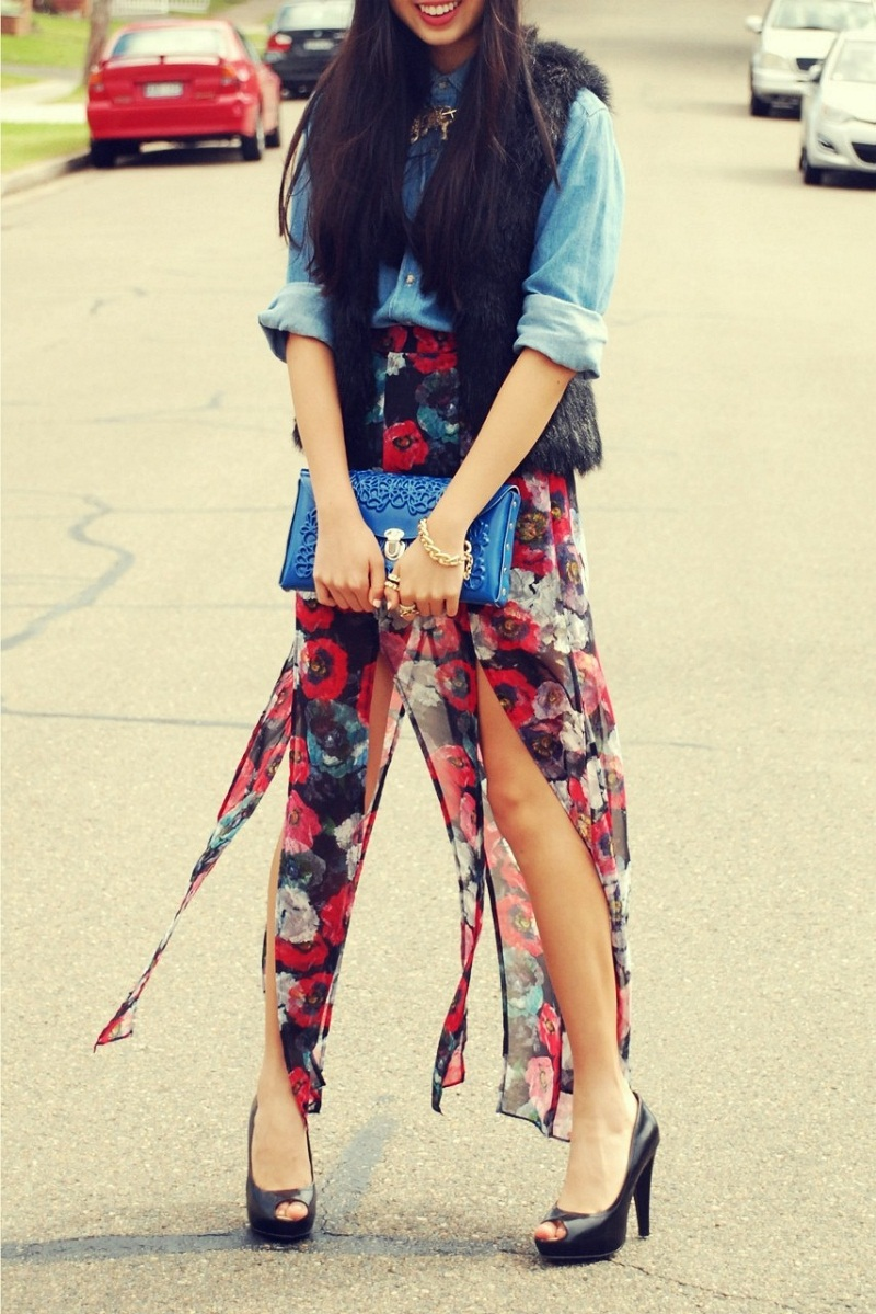 street style, personal style, Me-Dusa, clutch, MBFWA, outfit, Topshop, American Apparel, Printed skirt