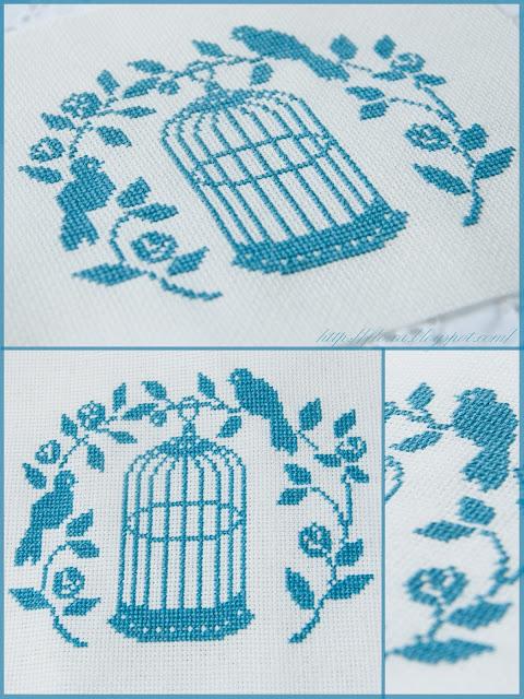 Anges Motifs de broderie traditionnelle et au point de croix, вышивка клетка с птицей, вышивка монохром, вышивка крестом, вышивка клетка, вышивка романтика