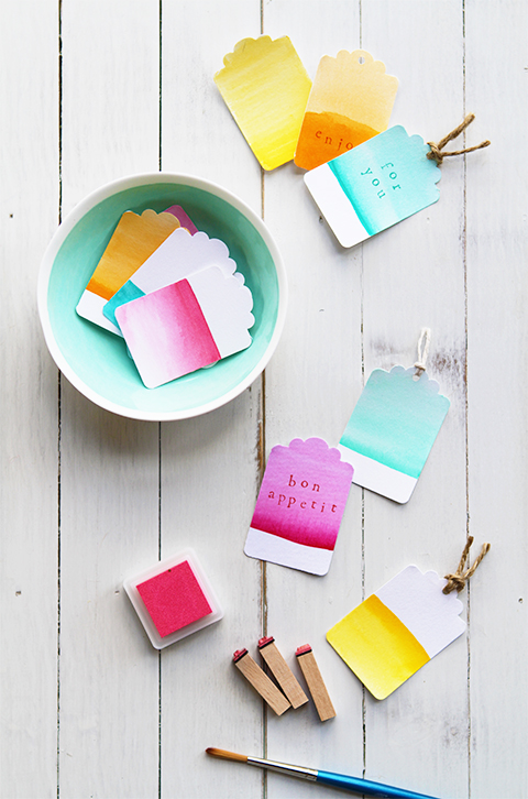 watercolor tags diy