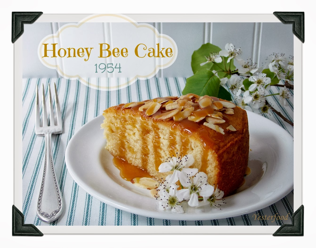 Yesterfood : Honey Bee Cake with Honey Caramel Drizzle