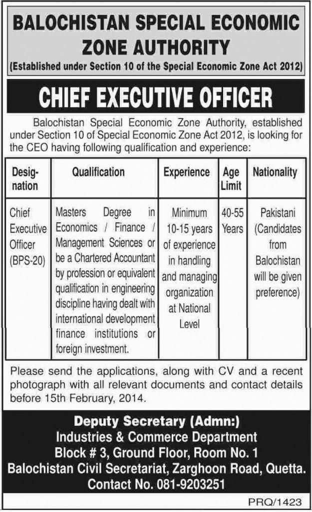 Vacancies in Balochistan Special Economic Zone Authority, Quetta