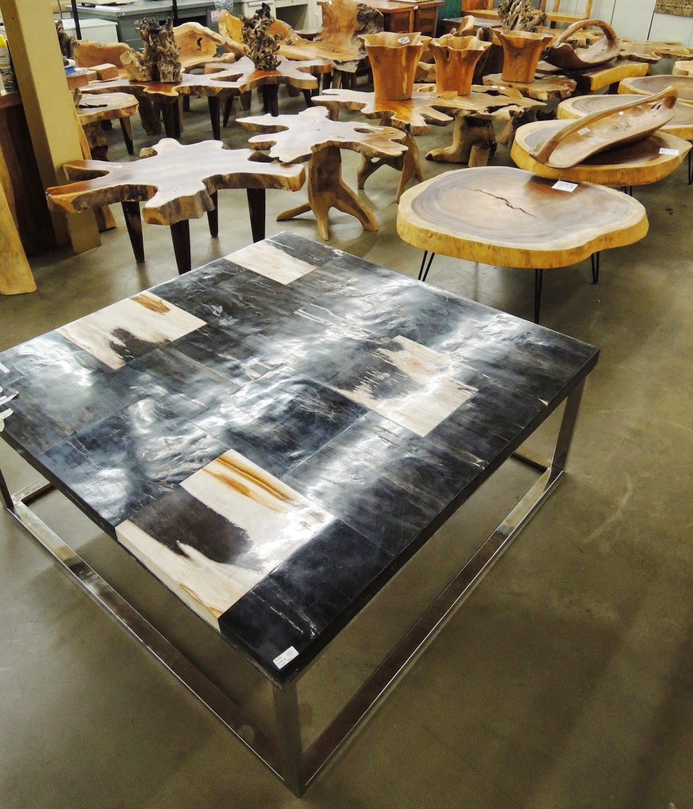 petrified wood cocktail table, Wesco Fabrics