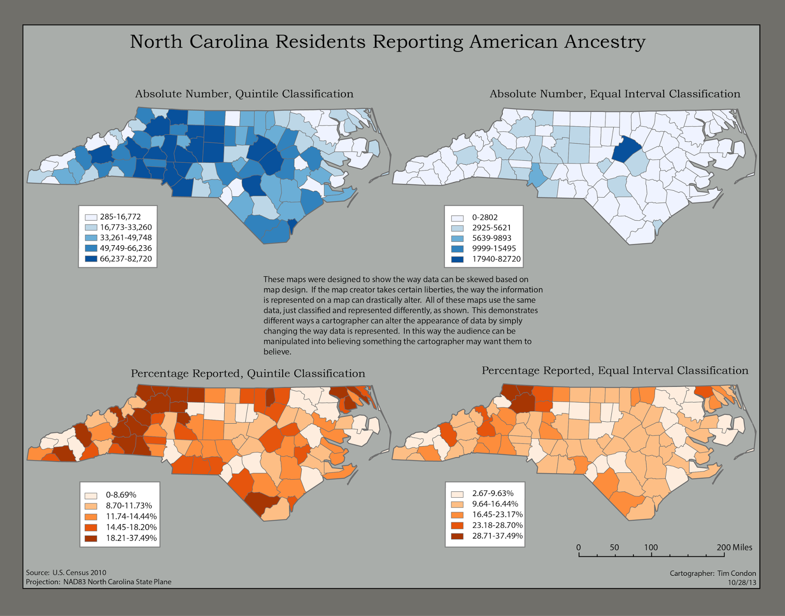 this is a map showing the location of north carolina residents reporting american ancestry and the various ways data can be reported and classified in a
