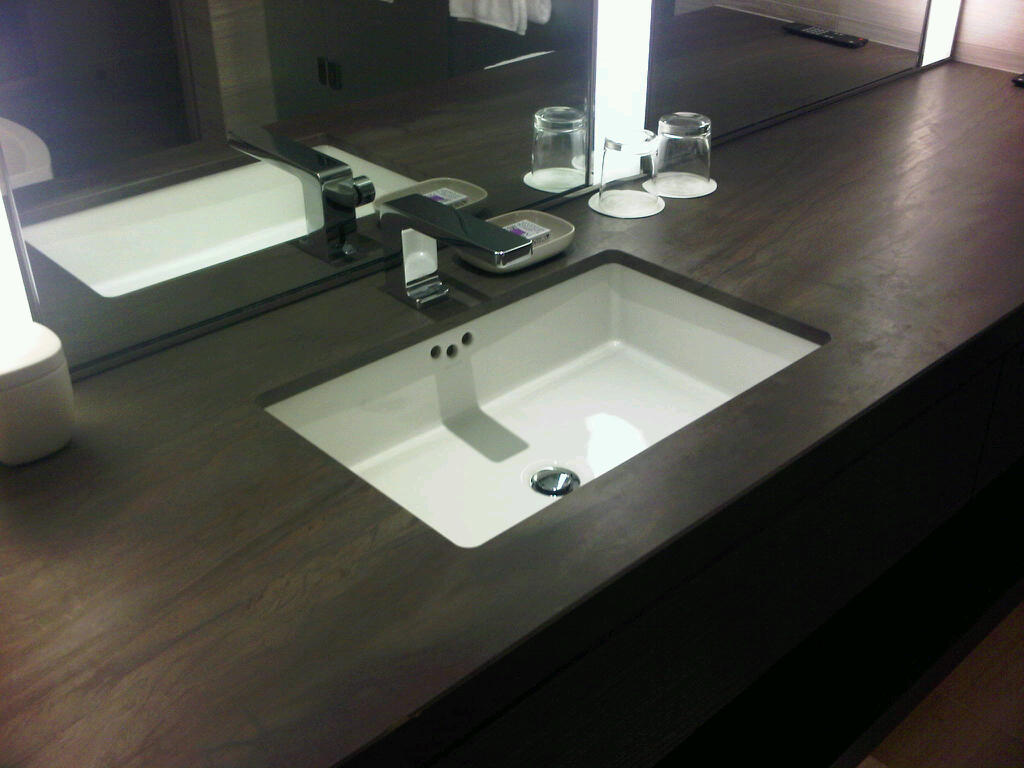 Top Of Counter Sink : really like the look of the dark brown counter top, it almost looks ...