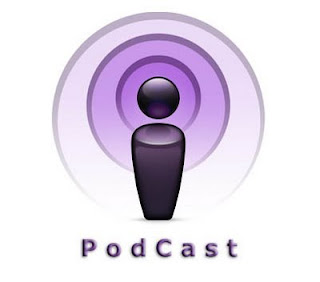 Person with Purple background standing on word PodCast