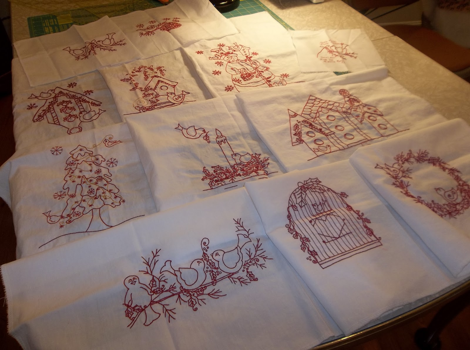 Little Pink Rose Quilting Amp Sewing Redwork Embroidery Quilt