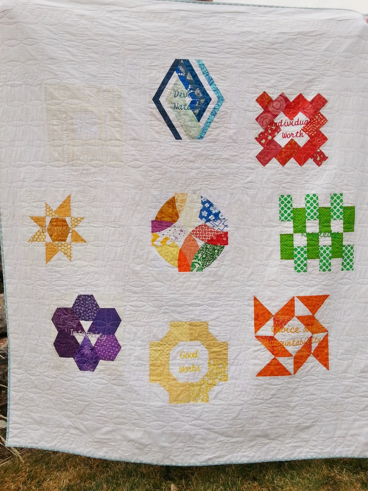 LDS YW Values Quilt Rainbow