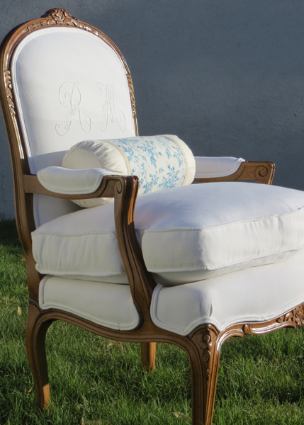 French Bergere in Antique French Linen, Monogrammed