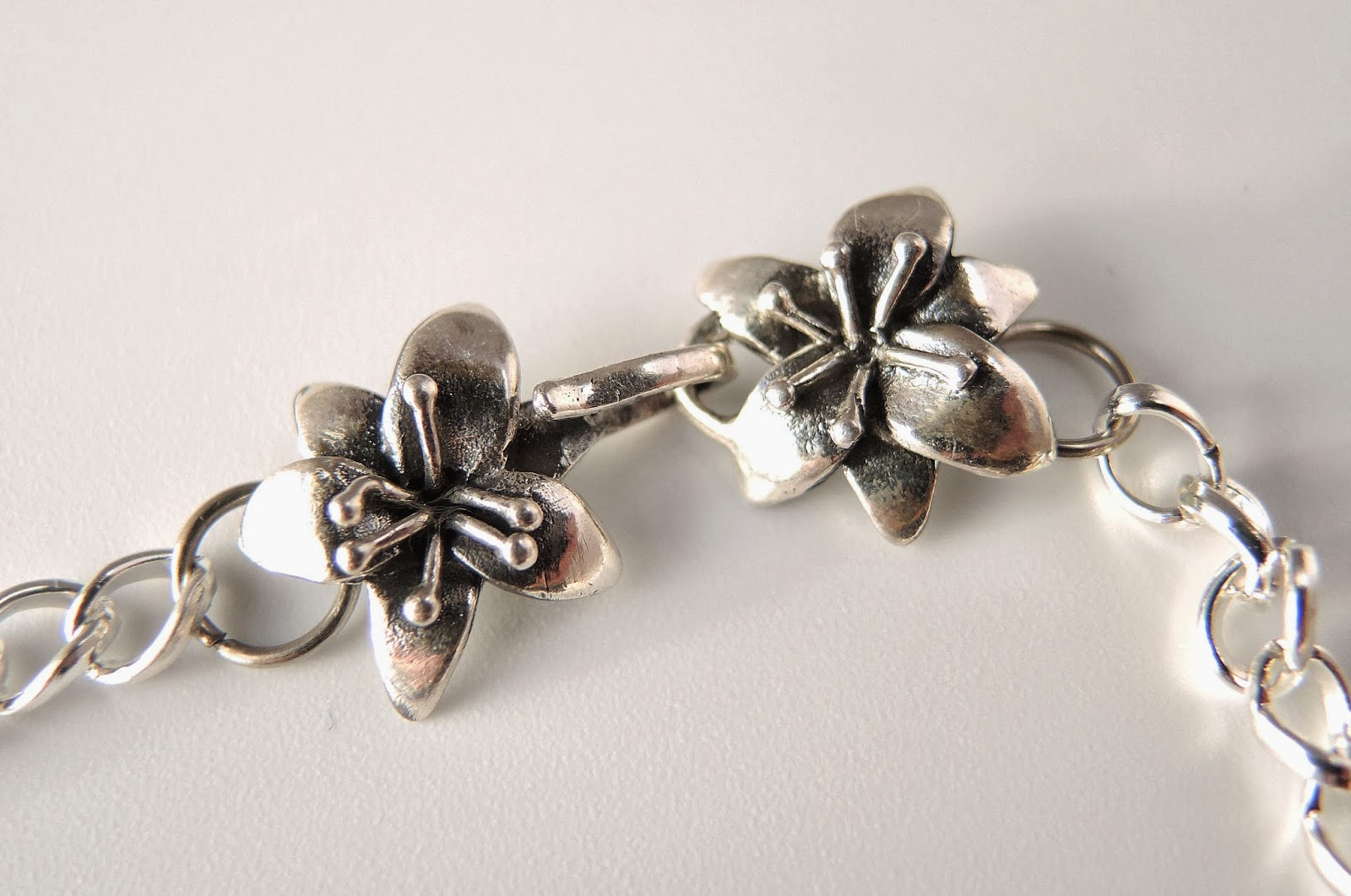 Floral sterling silver clasp