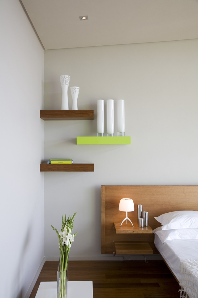 Wooden bed and shelves