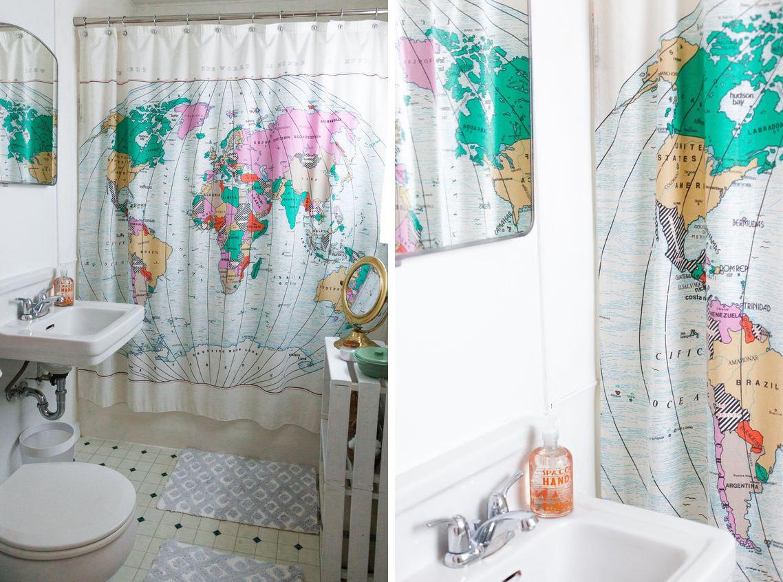 La fabrique d co cartes g ographiques 7 styles et fa ons de les utiliser - Rideau de douche carte du monde ...