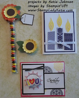 Mom and Me Stamp Camp Projects: Build-a-Blossom Punch, Long Cellophane Bags with Candy and Treat Cup with eraser - by Katie Johnson (StampladyKatie)