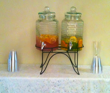 Beverages: Pink Lemonade w. Fruit Slices, Refreshing Spa Water w. Cucumber Slices and Mint