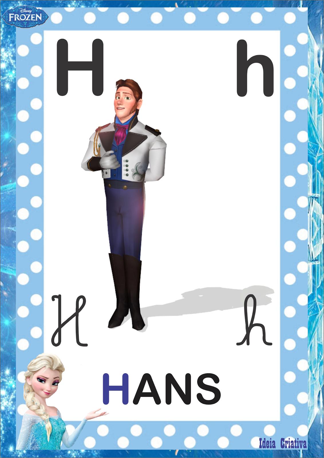 Alfabeto 4 Tipos de Letra Frozen para imprimir grátis