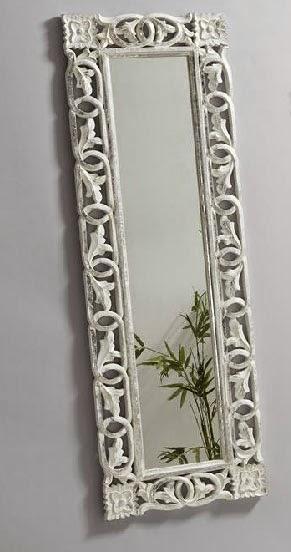 Espejo blanco rustico rectangular