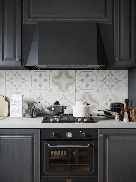 contemporary black and white small kitchen design