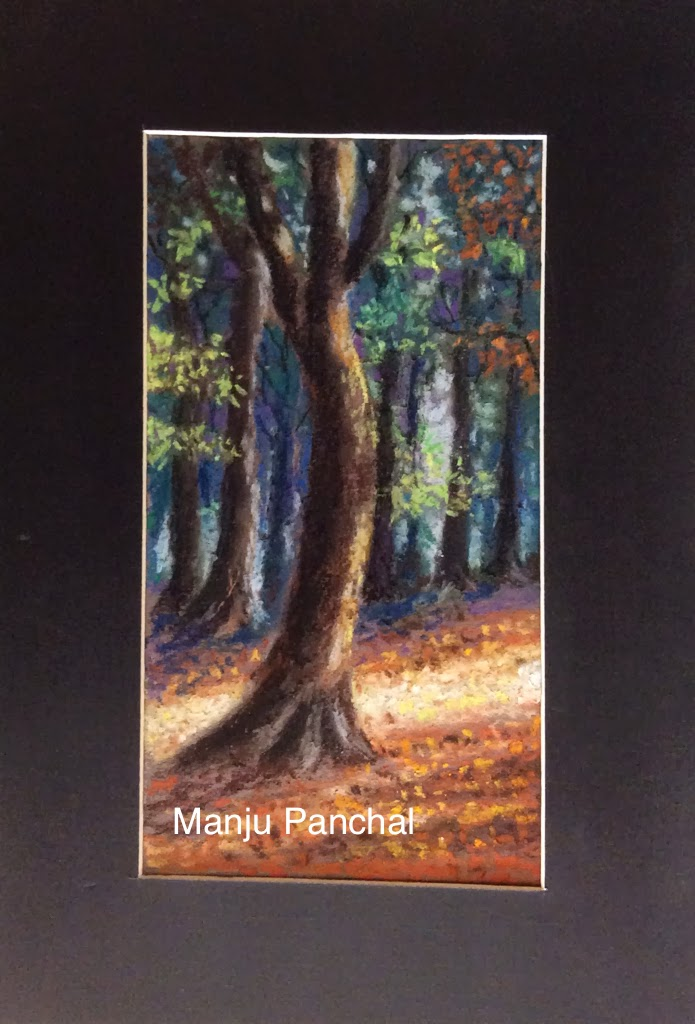soft pastel painting of forest by Manju Panchal