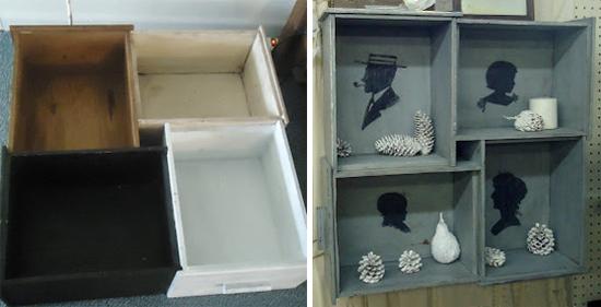 nicho de gavetas, estante de gaveta, gaveta reciclada, puff de gaveta velha, gaveta velha, old drawer, drawer, reciclagem, upcycling