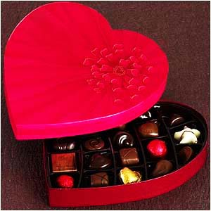 Chocolate gift in a heart-shaped box