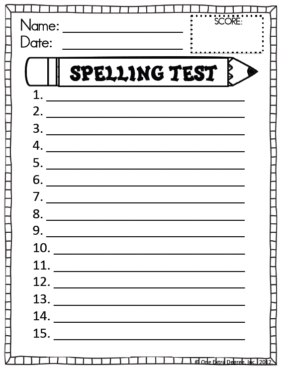 Spelling Pretest Template If you already have it,