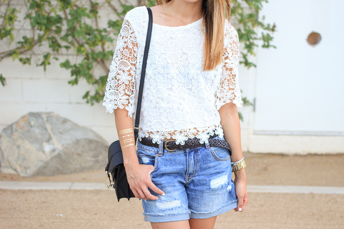 flash tattoos, boyfriend shorts, Forever 21 crochet crop top, Rebecca Minkoff Hudson Moto Mini, beautybitten