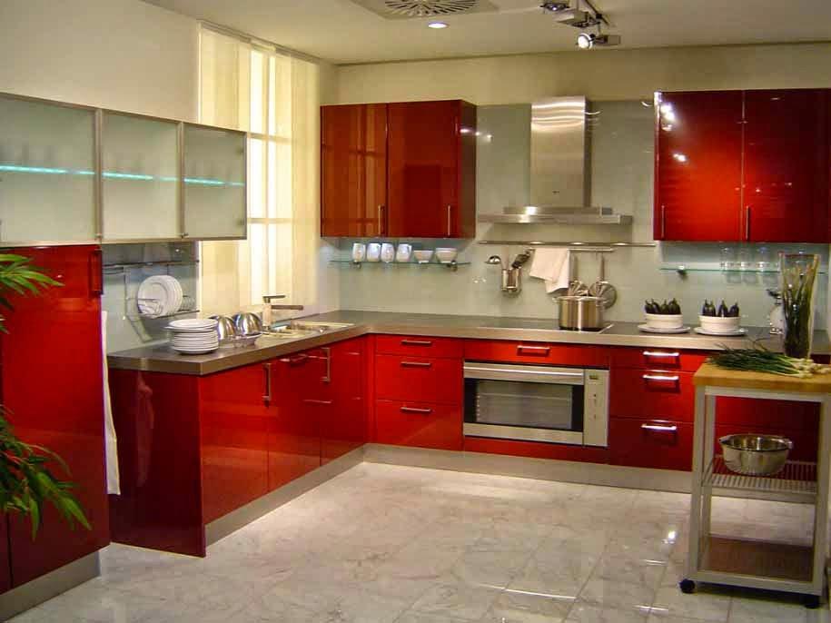 Dapur minimalis berwarna merah, dapur cantik, design minimalis