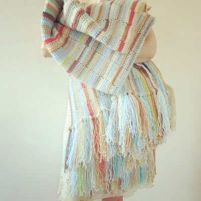ByHaafner, crochet, throw, crocheted stripes, pastel, aqua, ocher