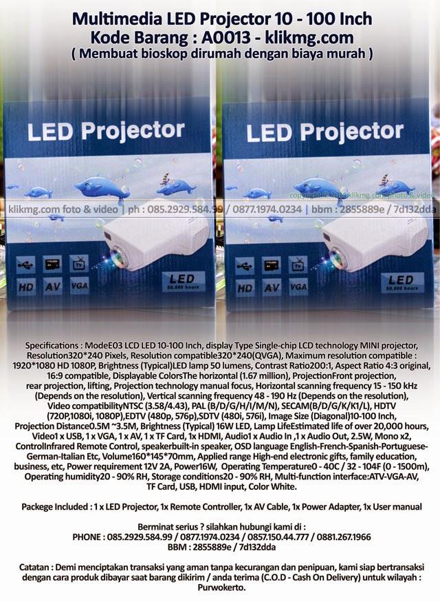 Multimedia LED Projector 10 - 100 Inch - Kode Barang : A0013 ( Membuat bioskop dirumah dengan biaya murah )
