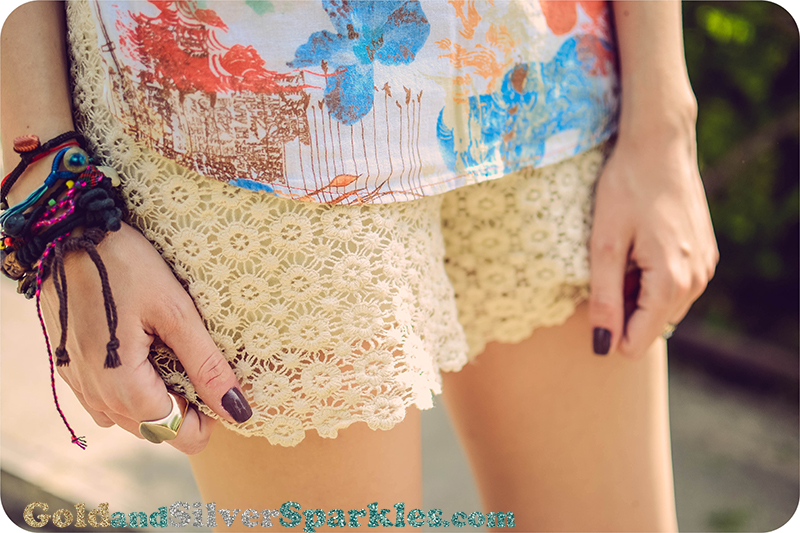 romwe lace shorts