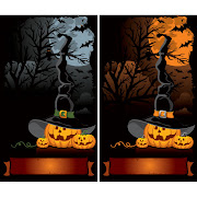 30. Free vector of Funny pumpkins horror background set