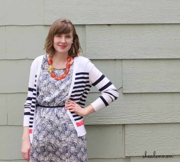 floral dress, stripes, coral accents for spring | www.shealennon.com