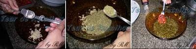 Colocar numa vasilha o alho amassado, o orégano, o manjericão, misturar bem e ir colocando um a um os tomates secos já prreparados