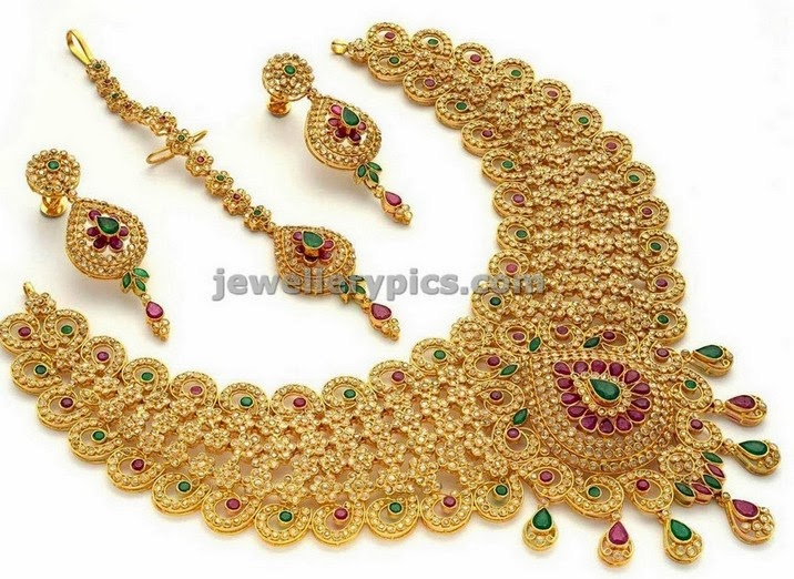 meenakshi jewellers uncut briidal jewellery set