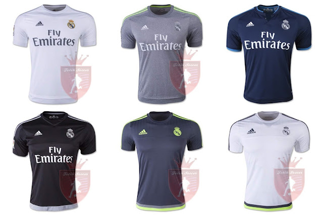 Jersey Real Madrid Home, Away, Third/3rd, Training Kit 2015-2016