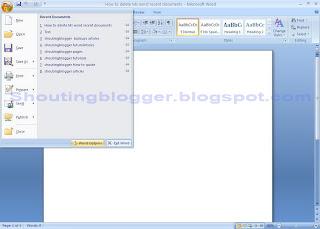 Delete History in Microsoft word 2007 .