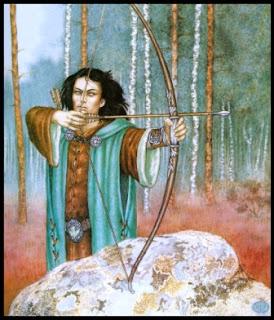 Ilustración de Inger Edelfeldt de un Legolas de cabello oscuro